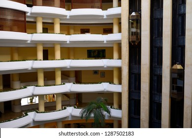 Balconies and elevators of inner open air atrium at a Varadero Cuba resort hotel Varadero, Cuba - April 6, 2014
