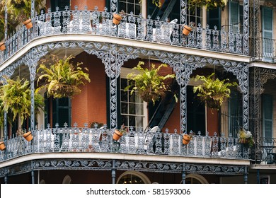 Balconies in the French Quarter, in New Orleans, Louisiana.
