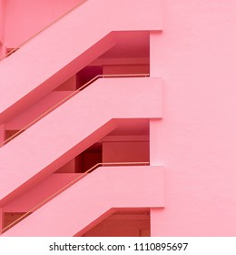 Balconies. Geometry. Fashion minimal pink mood
