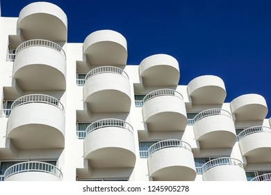 Balconies of a modern building . blue sky background