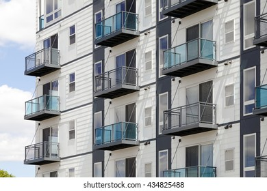 Balconies. Modern urban condominiums with balconies.