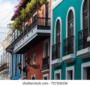 Balconies in Old San Juan on historical buildings
