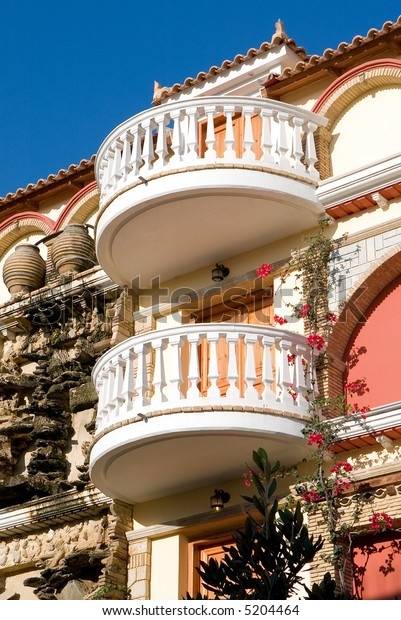 Balconies on hotel on Zakynthos, Greece