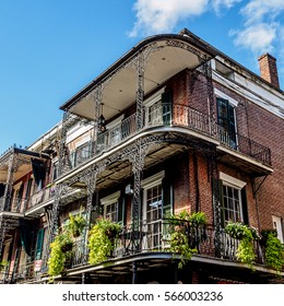Balconies and Plants on a Old Building - French Quarter New Orleans LA