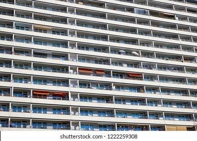 Balconies of a prefabricated public housing building seen in Berlin, Germany