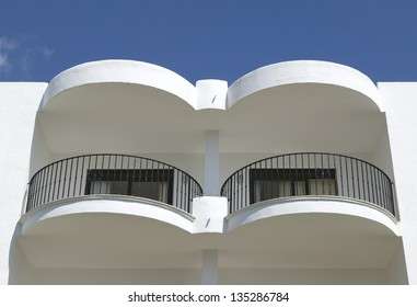 Balconies of Residential building at Mediterranean place.
