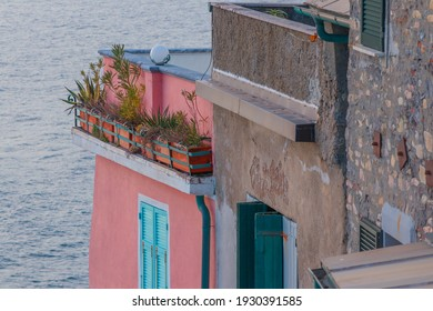Balconies and roofs overlooking the sea in the ancient village of Tellaro.