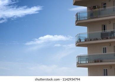 Balconies with sky on background