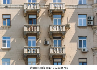 Balconies of the ten-storey brick residential apartment house on Prospekt Mira was Built in 1959. Moscow, Russia