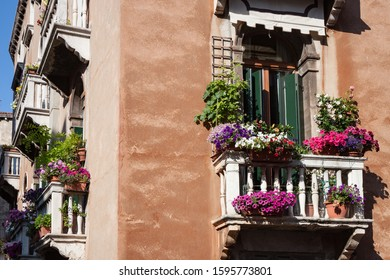 Balconies in Venice Covered With Flowers in Apartment Building