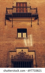 A balcony. Architectural detail. Spanish College in Bologna. Italy