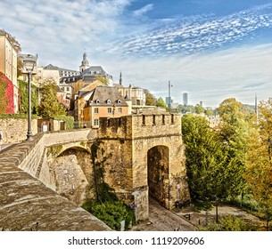 Balcony of Europe. Picturesque cityscape of the historic city center. Luxembourg. Luxembourg.