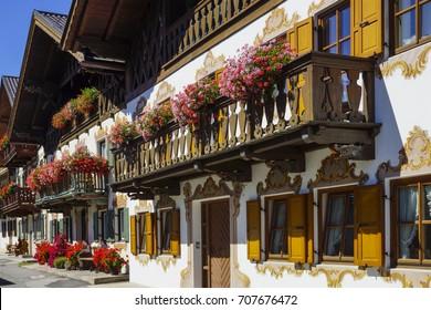Balcony Flowers on a old House in Garmisch-Partenkirchen, Werdenfels, Bavaria, Germany, Europe, 4. September 2013