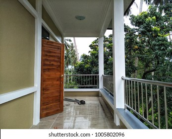 balcony with handrail in house