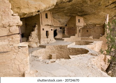 Balcony House at Mesa Verde National Park in southern Colorado. The large holes are kivas, underground chambers used for ceremonies and meetings.