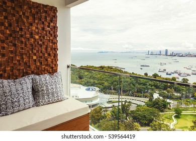 Balcony interior design and condo view of skyline Pattaya Beach, Thailand