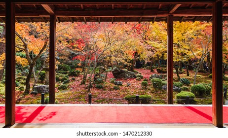 Balcony of japan old zen temple with beautiful japanese garden in autumn background.Colorful scenic landscape view.