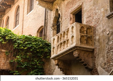 balcony of Juliet's house in Verona, Italy photographed from the street in the summer day