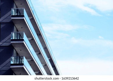 Balcony of a modern building in perspective