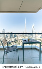 Balcony of Modern Hotel in Dubai.UAE