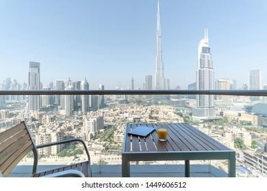 Balcony of Modern Hotel in Dubai UAE.