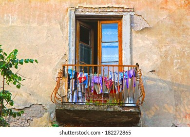 Balcony in the old house