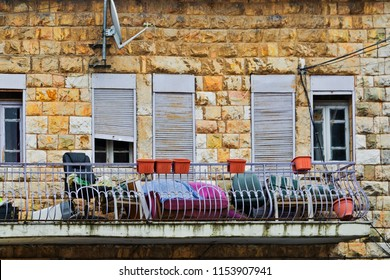 Balcony of old house in Jerusalem, Israel