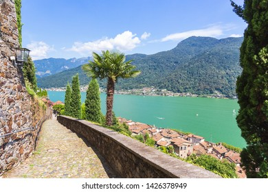 Balcony on the rooftops of Morcote and Lake Ceresio, Morcote, Canton Ticino, Switzerland