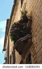 A balcony on a traditonal Venetian building is covered with colourful pot plants, including pink geraniums. A pulley for lifting loads to upper floors is nearby. The sky is blue with faint clouds.