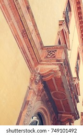 the balcony of palace. Architectural detail. Ferarra. Italy