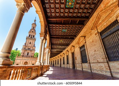 Balcony at Plaza de Espana in Seville, Spain, Andalusia. Famous touristic place and Landmark of Sevilla.