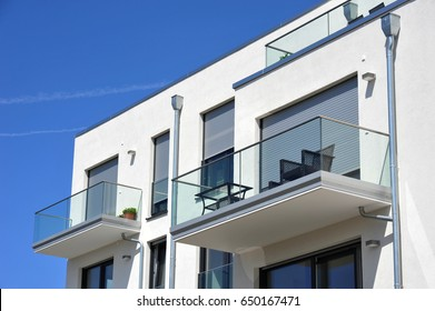 Balcony Rail of high-grade steel  and Glass in Front of a House