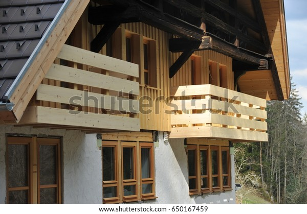 Balcony Rail Wood Front Black Forest Stock Photo Edit Now 650167459