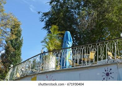 Balcony of russian cafe