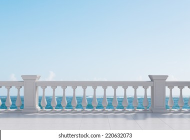 Balcony and sea view under blue sky