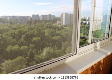 Balcony with sliding mosquito net