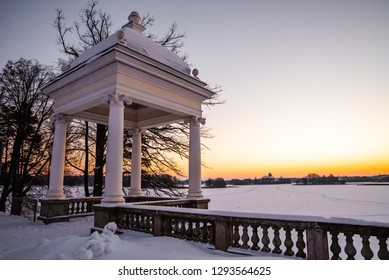 Balcony of Uzutrakis manor estate  and the view of Trakai island castle in winter time, Lithuania