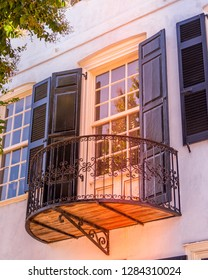 Balcony view from a house on Charleston's famous Rainbow Row