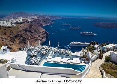 Balcony view on cruise ships in Thira on Santorini island, Greece