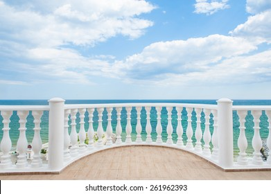 Balcony view on the sea shore on a sunny day