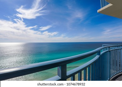 Balcony view of panama city beach ocean and sky