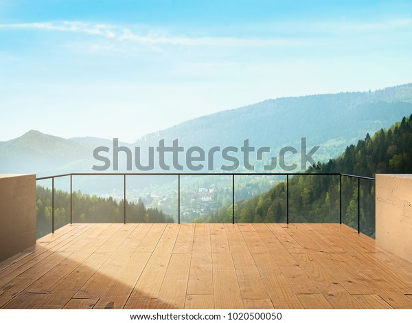 Балкон Вид на город и лес в горах Пейзаж в Солнечный день