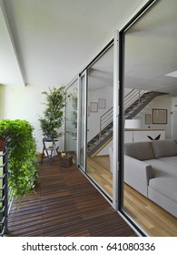 balcony with wood floor overlooking on the modern living room and staircase