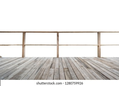 Balcony with wooden floor and wooden fence isolated on white background.