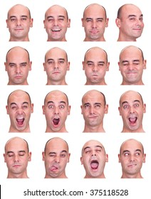 bald brunette adult caucasian man collection set of face expression like happy, sad, angry, surprise, yawn isolated on white