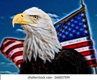 Bald Eagle with flag in the background. Abstract background of eagle with American flag. Blue sky and clouds in background.