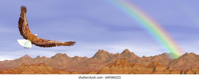 Bald eagle flying upon rocky mountains to the rainbow - 3D render