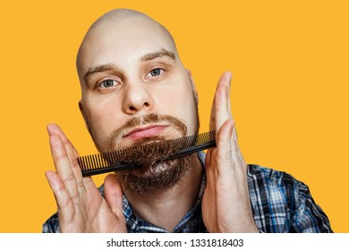 Bald funny guy with a beard and a comb in his hands, combing his head and beard in the morning at home on a colored background. Concept: humor, absurdity