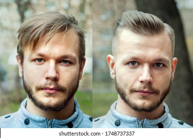 bald guy before after haircut Concept for a barber shop: the problem man of hair loss, alopecia, transplantation.