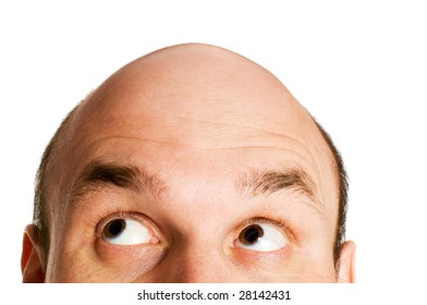 bald head looking up isolated